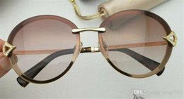 Diamond Uv Australia - New fashion designer sunglasses 6101 round frameless with diamond luxurious summer Avant-garde popular style uv 400 lens