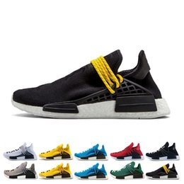 China Cheap Human Race Running Shoes Men Women Pharrell Williams HU Runner Yellow Black White Red Grey Blue Casual Sports Sneakers Size 36-47 supplier human leather suppliers