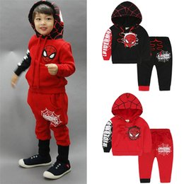 Wholesale longsleeve hoodie online – oversize spiderman Baby Boys Kid Sports Wear Tracksuit Outfit cartoon Suit Spring kids boys clothes longsleeve hoodies clothing two piece sets JY999