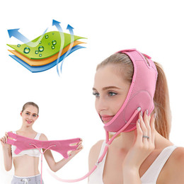 face lift bands Australia - Air Press Face Lift Up Belt Reduce Double Chin Thin Face Mask Slimming Bandage Facial Thining Band Pink Beige Colors