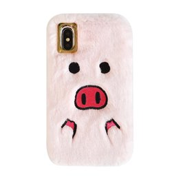 $enCountryForm.capitalKeyWord Australia - Cute Embroidery Lovely 3D Pig Plush Flannel Nose Warm feel Surrounded Winter Phone Case For IphoneXS 6 7 8plus