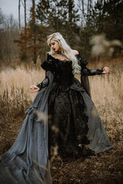 Silver Falls Australia - Medieval Gothic Wedding Dresses Silver and Black Renaissance Fantasy Victorian Vampires Off The Shoulder Long Sleeve Country Wedding Dresses