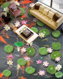 Pond Wall Stickers Australia - 3d pvc flooring custom photo Waterproof Self-adhesive floor Large lotus pond carp sticker home decor living room wallpaper for walls 3 d