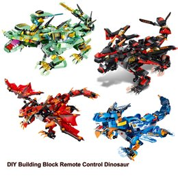 Building Block Rc NZ - DIY Building Block Remote Control Dinosaur 2.4GH RC Smart Creativity Module with Rechargeable Battery Cool Gift Enlightenment Toy for Kids