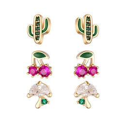 cherry jewelry sets Australia - 3 pairs set Crystal Zircon Cactus Cherry Mushroom Stud Earrings For Women Gold Color Copper Female Earring Fashion Ear Jewelry