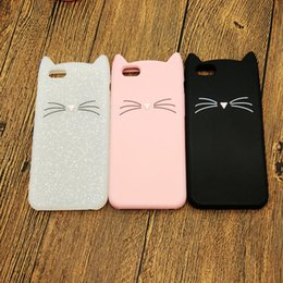 $enCountryForm.capitalKeyWord Australia - Cute 3D Silicone Cartoon Cat Pink Black Glitter Soft Phone Case Cover for Iphone X XS MAX XR 6 7 8 Plus i phone 8plus Shell Couple Cases New