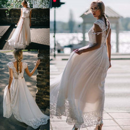 $enCountryForm.capitalKeyWord NZ - Vintage Bohemian Lace Chiffon Wedding Dresses Lace Top and Backless 2019 Flowy Skirt Beach Summer A-line Bridal Wedding Gowns