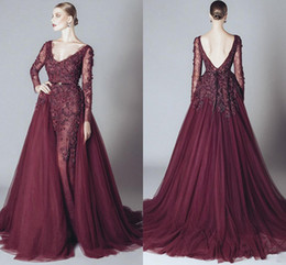 8a82f3673 2019 Vintage Mermaid Prom Evening Dress Maroon Lace Appliqued Long Sleeve  Datachable Train V Neck Formal Party Pageant Dresses Custom Made