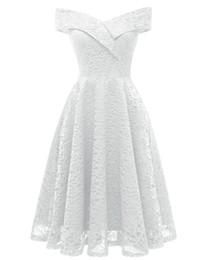 2019 Off Shoulder Women Skater Dresses White Midi Cap Sleeves Knee Length V  neck Lace Dresses for Women Prom Party Birthday Holiday 8068dff34