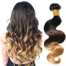 $enCountryForm.capitalKeyWord Canada - 3 Tone 1B 4 27 Raw Indian Human Wavy Hair Weaves 10-26 Inches Body Wave 100g Bundle Ombre Color