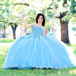 Pictures Baby Ball Gowns UK - Baby Blue Ball Gown Quinceanera Dresses Sweetheart Bead Lace Appliques Prom Gown Tulle Puffy Skirt Abric Dubai Pageant Dress