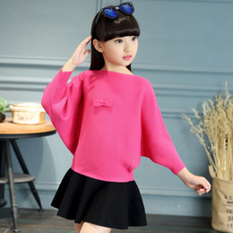 $enCountryForm.capitalKeyWord Australia - Girls spring sweater 2019 new female baby spring and autumn boutique knit sweater fashion hooded bat shirt