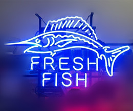 """$enCountryForm.capitalKeyWord UK - 17""""x14"""" Fresh Fish Catering Wall Decor Handcrafted Real Glass Neon Sign Beer Sports Bar Club Light"""