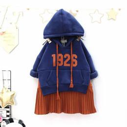 $enCountryForm.capitalKeyWord Australia - WLG girls winter thick patchwork dresses kids khaki blue warm velvet dress baby hooded long sleeve clothes children 2-7 years