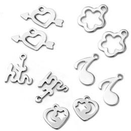 $enCountryForm.capitalKeyWord NZ - Stainless Steel Filigree Heart Flower Tiny Charms NO Fade DIY Bracelet Extended Extender Charms Jewelry Making Bulk