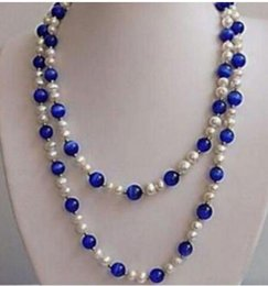 """Blue Heart Gems Australia - FREE SHIPPING + l 7-8mm White Pearl+blue Round Bead Gems Necklaces 48"""""""