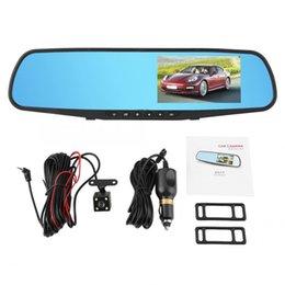 Discount mirror monitor reverse camera - 1 Set DVR Camera 4.3inch 1080P Car DVR Dual Lens Reversing Rearview Mirror Camera Monitor Night Vision car accessories