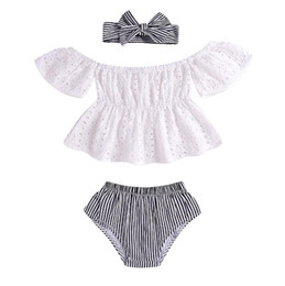 wholesale designers clothes UK - Wholesale 2019 kids designer clothes girls Summer Dress Hollow-out Top+Stripe PP Trousers+Hair 3 piece Set baby girl designer clothes BY0826