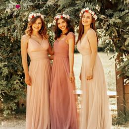 Lavender Blush Wedding Dress Australia - Blush Pink Bridesmaid Dresses Ever Pretty EP07303 Sweetheart A-line V-neck Sleeveless Wedding Party Dress Elegant for Women T19053005