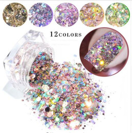 decor glitter Australia - 12 Colors1 Box Bling Glitter Powder Dust Nail Art Sequin 3D Rainbow Clear Hexagon Slice DIY Charm Nail Art Decor Manicure