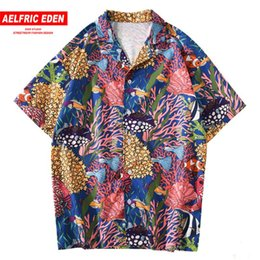 oversized shirts men Australia - Aelfric Eden Sea Animal Print Hip Hop Men Shirts Streetwear Hawaii Beach Short Sleeve Summer Harajuku Retro oversized Loose Tops