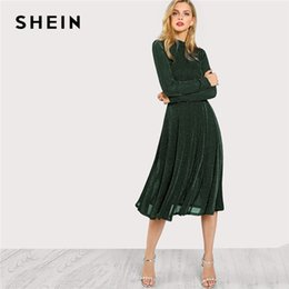 SHEIN Green Elegant Party Mock Neck Glitter Button Fit And Flare Solid  Natural Waist Dress 2018 Autumn Minimalist Women Dresses Y190117 b0d098a92