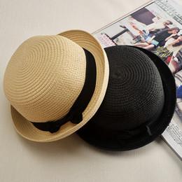 c7144e98 2019 Fashion Women Sunhat Unisex Trilby Gangster Cap Beach Sun Straw Hat  Bow Tie Band Sunhat Straw