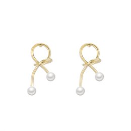 cute sweet nails 2019 - Japanese and Korean girls delicate simple knotted metal pearl ear nails Sweet Cute short Earrings E484