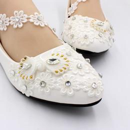 Опт 2019 Новый Белый Боути Кружева Женщины Свадебные Туфли 3 СМ / 5 см Весна Осень Обувь Чистая Обувь Ручной Работы