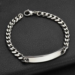 silver bracelets mens hand UK - Nameplate bracelets mens custom silver stainless steel fashion charm chains bracelets chain on hand gifts for man simple 2020