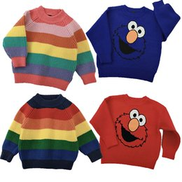 Wholesale rainbow knit sweater for sale – oversize Children Outfits Kids Rainbow Striped Sweaters Baby Sesame Elmo Sweatshirt Stripe Knitting Pullover Warm Wool Tops for Kids Clothing M442