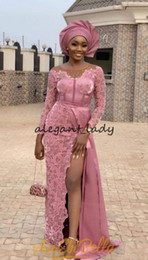 Nigerian White Lace Short Dress Styles Australia - Asoebi Style Long Sleeve Prom Formal Dresses 2019 Jewel Neck Dusty Pink Lace Slit Side African Nigerian Occasion Evening Wear Gowns