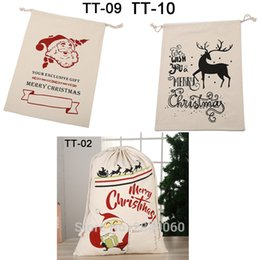 santa sacks large Australia - Customized Santa Sacks Christmas Bag 10pcs lot Kids Drawstring Canvas Bag Large Santa Claus Personalized Party Christmas Gift