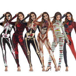 woman vampire halloween costumes Australia - One Piece Female Skull Skeleton Costume Halloween Party Wear Scary Woman Jumpsuit Skinny Zombie Vampire Cosplay for Ladies