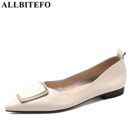Metal Sneakers Australia - ALLBITEFO brand genuine leather flat heel shoes metal decoration slip-on women flats sneakers shoes spring fashion flats