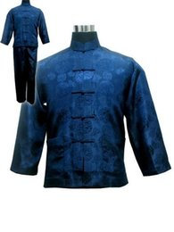 Kung Fu Suits Australia - Navy Blue Chinese Men's Satin Kung Fu Suit Traditional Male Wu Shu Sets Tai Chi Uniform Clothing Plus Size S-xxxl Ms002