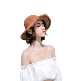 Large brim summer hats online shopping - Woman Breathable Straw Sun Hats Fashion Lady Large Brim Breathable Handmade Weave Outdoor Trip Beach Summer Caps LJJT644