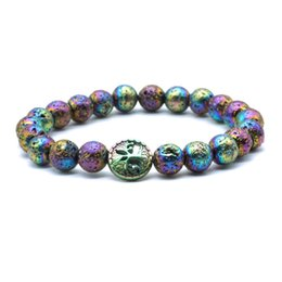 Reiki Healing Wholesalers Australia - Hematite Tree of life 8mm Color Plating Lava Stone Healing Balance Beads Reiki Buddha Prayer Essential Oil Diffuser Bracelet Jewelry