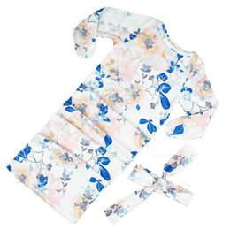 Painting sleePing online shopping - Children s Sleeping Bags Wrap Cloth Towel Bag Long Sleeve Rompers Cotton Blend Ink Painting Wind Royalblue Leaf