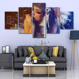 Indian Girls Paintings Australia - 5 Pcs Native American Indian Girl HD Printed Canvas Prints Painting Wall Pictures For Living Room Wall Art No Frame