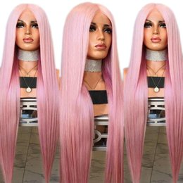 $enCountryForm.capitalKeyWord Australia - Natural Silky Straight Hair Pink Wig Middle Part Heat Resistant Synthetic Lace Front Wig for White Women 26inch Glueless Cosplay Daily Wig