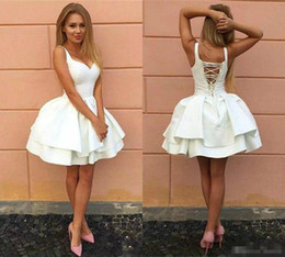 One piece dresses knee length cOcktail online shopping - Cheap Sexy Cocktail Dresses Criss Cross Straps Backless Little White Homecoming Dresses V Neck lace Up Tiered Short Prom Gowns Puffy