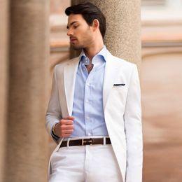 $enCountryForm.capitalKeyWord NZ - Custom Made White Men Suits for Wedding Party Casual Business Man Blazer Slim Fit Groom Tuxedo 2Piece Latest Coat Pant Design Costume Homme