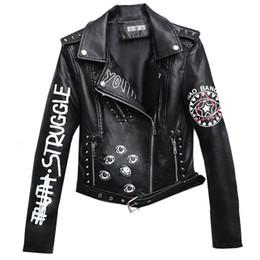 Jacket leather rock online shopping - Rivet Faux Leather Jacket Rock Punk Women Moto Coat Black Cheetah Jacket Zipper Streetwear chaqueta mujer chaqueta charreteras Y190917