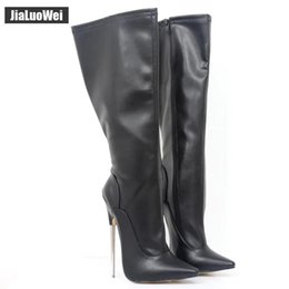 Purple Martin Boots Australia - Fashion Europe America Style PU Leather Extreme 18cm High Heels Knee Boots Women High Boot Thin Metal heel Zip Sexy shoes for Unisex