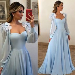 Chiffon prom dress sweetheart neCkline online shopping - Sky Blue Poet Long Sleeves Formal Evening Dresses A Line Square Neckline Flower Chiffon Long Party Prom Gowns Women Party Dresses