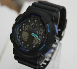 Wholesale 2019 New dual display sports watch ga100 G Black Display LED Fashion army military shocking watches men Casual Watches chat