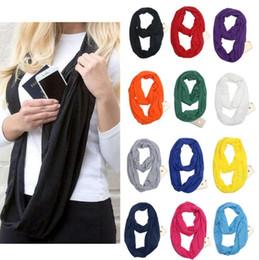 Unisex bufanda de moda bufandas infinitas con bolsillo de cremallera regalos de viaje anillo caliente bufandas bufanda Loop ENVÍO GRATIS