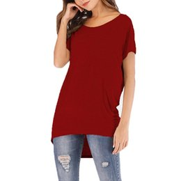loose wine 2019 - Women Casual Round Neck Short Sleeve Solid Spring, Summer Pullover Loose T-shirt Wine Red, Gray, Black cheap loose wine