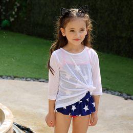 $enCountryForm.capitalKeyWord Australia - Girls Beach Cover Long Sleeve T shirt White Pink Rash Guard UV Sun Protection Suit for Swimming Surfing Kids Swimwer